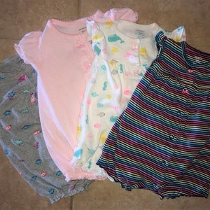 4 Carter's Girl's snap up romper's - size 6 months